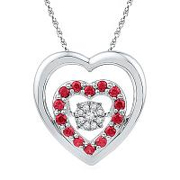 Sterling Silver Womens Round Lab-Created Ruby Heart Moving Twinkle Diamond Cluster Pendant 1/2 Cttw