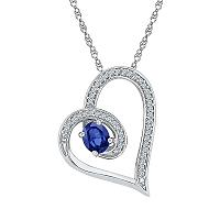 Sterling Silver Womens Oval Lab-Created Blue Sapphire Heart Diamond-accent Pendant 5/8 Cttw