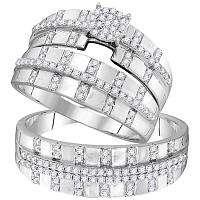 10kt White Gold His & Hers Round Diamond Cluster Matching Bridal Wedding Ring Band Set 5/8 Cttw