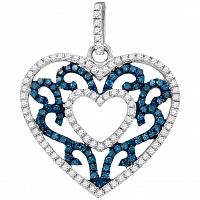 10kt White Gold Womens Round Blue Color Enhanced Diamond Antique-style Heart Pendant 1/2 Cttw