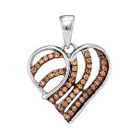 10kt White Gold Womens Round Cognac-brown Color Enhanced Diamond Striped Heart Pendant 1/4 Cttw