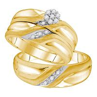 Yellow-tone Sterling Silver His Hers Round Diamond Cluster Matching Bridal Wedding Ring Band Set 1/5 Cttw