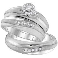 10kt White Gold His & Hers Round Diamond Solitaire Matching Bridal Wedding Ring Band Set 1/5 Cttw