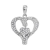 10kt White Gold Womens Round Diamond Heart Love Pendant 1/6 Cttw