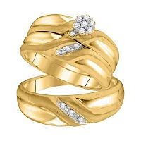 10kt Yellow Gold His & Hers Round Diamond Cluster Matching Bridal Wedding Ring Band Set 1/5 Cttw