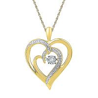 Yellow-tone Sterling Silver Womens Round Diamond Heart Moving Twinkle Pendant .03 Cttw