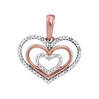 10kt Rose Gold Womens Round Diamond Triple Nested Heart Love Pendant 1/10 Cttw