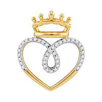 10kt Yellow Gold Womens Round Diamond Crowned Heart Love Pendant 1/5 Cttw