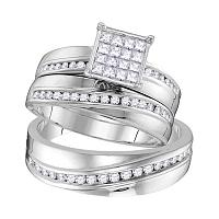 14kt White Gold His & Hers Round Diamond Cluster Matching Bridal Wedding Ring Band Set 7/8 Cttw