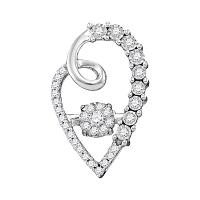 10kt White Gold Womens Round Diamond Moving Twinkle Cluster Heart Pendant 1/5 Cttw