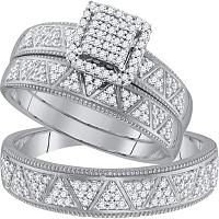 10kt White Gold His & Hers Round Diamond Square Cluster Matching Bridal Wedding Ring Band Set 1/2 Cttw