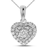 14kt White Gold Womens Round Diamond Heart Love Pendant 1/3 Cttw