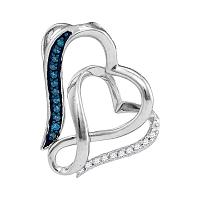 Sterling Silver Womens Round Blue Color Enhanced Diamond Heart Love Pendant 1/20 Cttw