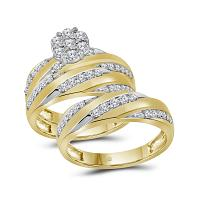10kt Yellow Gold His & Hers Round Diamond Cluster Matching Bridal Wedding Ring Band Set 1-1/10 Cttw