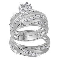 10kt White Gold His & Hers Round Diamond Cluster Matching Bridal Wedding Ring Band Set 1.00 Cttw