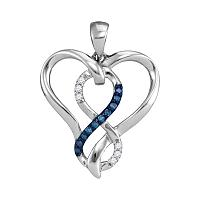 Sterling Silver Womens Round Blue Color Enhanced Diamond Heart Infinity Pendant 1/10 Cttw