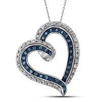 10kt White Gold Womens Round Blue Color Enhanced Diamond Outline Heart Pendant 1/5 Cttw