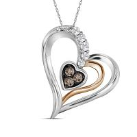 10kt Two-tone Gold Womens Round Brown Color Enhanced Diamond Heart Pendant 1/8 Cttw
