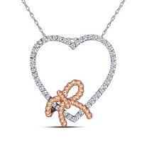 10kt White Gold Womens Round Diamond Rose-tone Rope Knot Bow Heart Pendant 1/6 Cttw