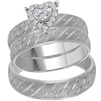 14kt White Gold His & Hers Round Diamond Heart Stripe Matching Bridal Wedding Ring Band Set 1/4 Cttw