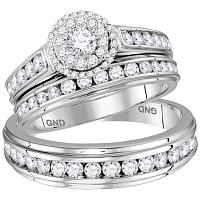 14kt White Gold His & Hers Round Diamond Solitaire Matching Bridal Wedding Ring Band Set 1-5/8 Cttw