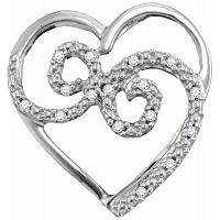 10kt White Gold Womens Round Diamond Curled Heart Pendant 1/20 Cttw