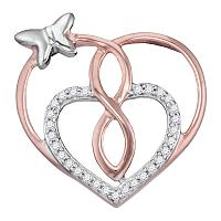 Rose-tone Sterling Silver Womens Round Diamond Heart Butterfly Pendant 1/10 Cttw