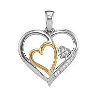 Two-tone Sterling Silver Womens Round Diamond Triple Nested Heart Pendant 1/20 Cttw