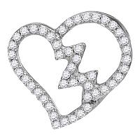 10kt White Gold Womens Round Diamond Heartbeat Heart Outline Pendant 1/6 Cttw