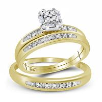 10kt Yellow Gold His & Hers Round Diamond Cluster Matching Bridal Wedding Ring Band Set 1/10 Cttw