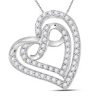 Sterling Silver Womens Round Diamond Infinity Heart Pendant 1/3 Cttw