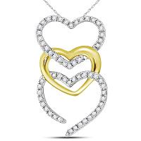 10kt Two-tone Gold Womens Round Diamond Triple Vertical Heart Pendant 1/6 Cttw