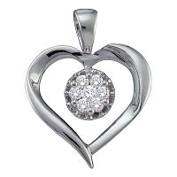 14kt White Gold Womens Round Diamond Heart Love Cluster Pendant 1/4 Cttw