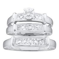 10kt White Gold His & Hers Round Diamond Solitaire Matching Bridal Wedding Ring Band Set 1/10 Cttw