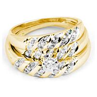 14kt Yellow Gold His & Hers Round Diamond Solitaire Matching Bridal Wedding Ring Band Set 1/12 Cttw