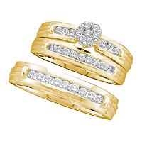 14kt Yellow Gold His & Hers Round Diamond Cluster Matching Bridal Wedding Ring Band Set 1/2 Cttw