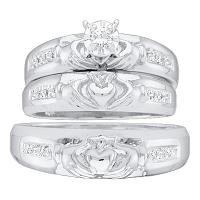 10kt White Gold His & Hers Round Diamond Claddagh Matching Bridal Wedding Ring Band Set 1/8 Cttw