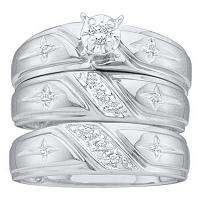 10kt White Gold His & Hers Round Diamond Solitaire Christian Cross Matching Bridal Wedding Ring Band Set 1/6 Cttw