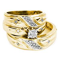 14kt Yellow Gold His & Hers Round Diamond Solitaire Cross Matching Bridal Wedding Ring Band Set 1/5 Cttw