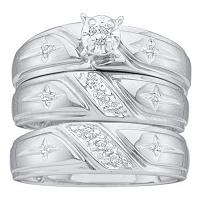 14kt White Gold His & Hers Round Diamond Solitaire Christian Cross Matching Bridal Wedding Ring Band Set 1/6 Cttw
