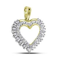 14kt Yellow Gold Womens Round Baguette Diamond Heart Frame Outline Pendant 1/4 Cttw