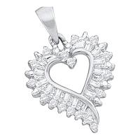 14kt White Gold Womens Round Diamond Open-center Heart Pendant 1/5 Cttw