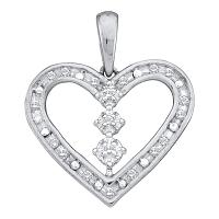 14kt White Gold Womens Round Diamond Heart Pendant 1/6 Cttw