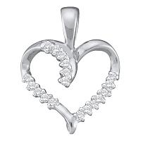 10kt White Gold Womens Round Diamond Simple Heart Outline Pendant 1/8 Cttw
