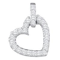 14kt White Gold Womens Round Diamond Small Dangling Heart Love Pendant 1/4 Cttw