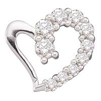 14kt White Gold Womens Round Diamond Heart Love Pendant 1/5 Cttw