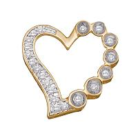 10kt Yellow Gold Womens Round Diamond Heart Outline Frame Pendant 1/6 Cttw
