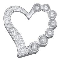 10kt White Gold Womens Round Diamond Heart Outline Frame Pendant 1/6 Cttw