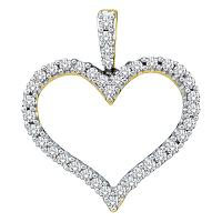 14kt Yellow Gold Womens Round Diamond Classic Heart Outline Pendant 1/2 Cttw