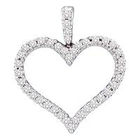 14kt White Gold Womens Round Diamond Classic Heart Outline Pendant 1/2 Cttw